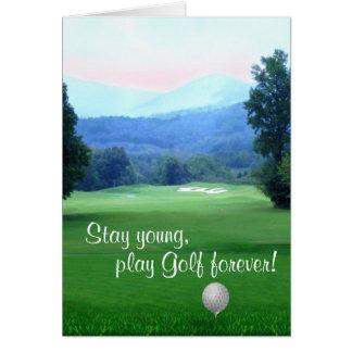 Cartão O golfe do jogo, permanece o feliz aniversario