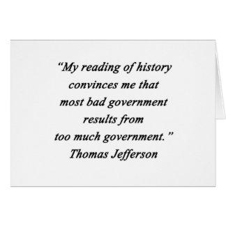 Cartão O governo mau - Thomas Jefferson