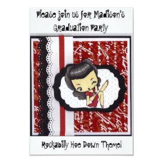 Cartão O Hoe Rockabilly Party para baixo