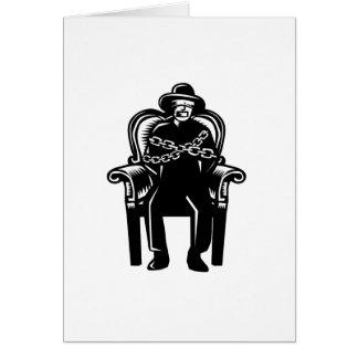 Cartão O homem amordaçou acorrentado ao Woodcut grande da