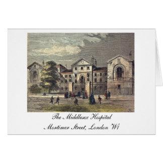 Cartão O hospital de Middlesex - gravura a água-forte