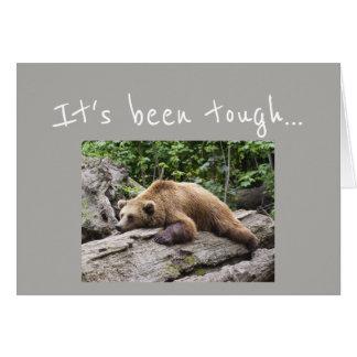 Cartão O incentivo obtem o animal bem esgotado do urso