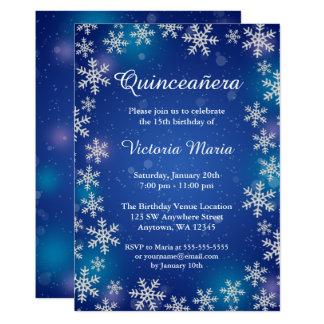 Cartão O inverno azul Quinceanera dos flocos de neve