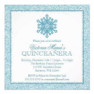 Cartão O inverno de Quinceanera da cerceta do floco de