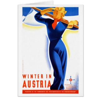 Cartão O inverno em Áustria restaurou o poster das