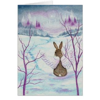 Cartão O inverno quer saber a arte do anjo do coelho pelo