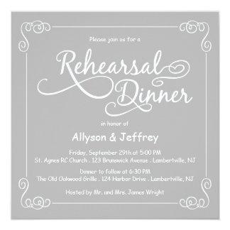 Cartão O jantar de ensaio cinzento do casamento do quadro