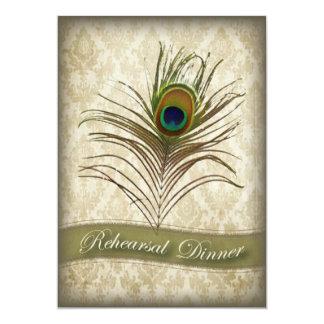 Cartão O jantar de ensaio do pavão do damasco do vintage