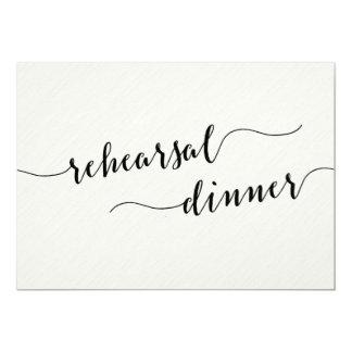 Cartão O jantar de ensaio preto e branco do casamento