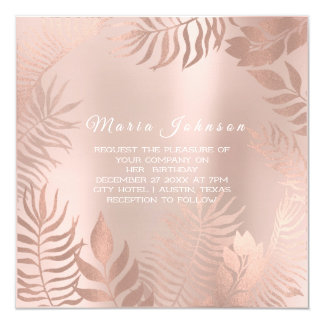 Cartão O jardim tropical da palma das folhas cora rosa