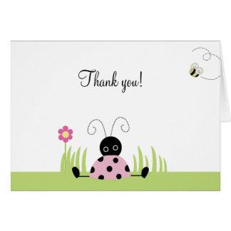Cartão O joaninha pequeno (rosa) dobrou o obrigado você