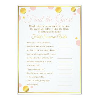 """Cartão O jogo do chá de fraldas """"encontra rosa e ouro do"""
