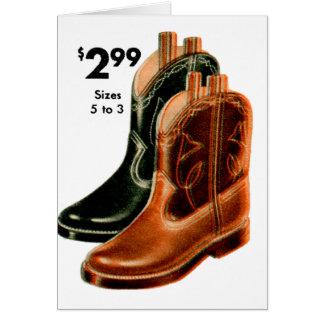 Cartão O kitsch retro do vintage calça a arte das botas