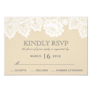 Cartão O laço branco cora RSVP Wedding rústico