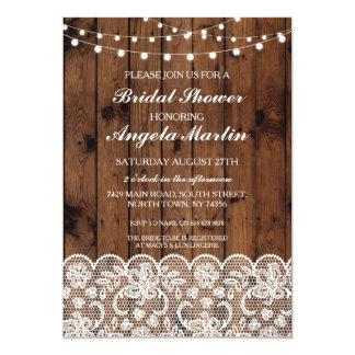Cartão O laço de madeira da festa de solteira do chá de