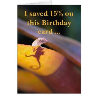 Cartão O lagarto salvar 15 por cento