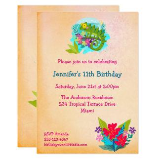 Cartão O lagarto tropical com aniversário de Luau das