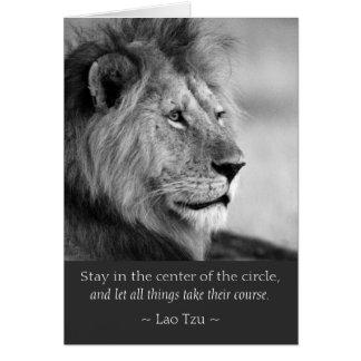 Cartão O Lao Tzu cita o animal do leão