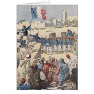 Cartão O levantamento da bandeira francesa em Timbuktu