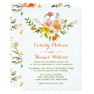 Cartão O lírio floral floresce o casamento alaranjado &