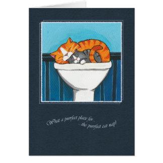 Cartão O lugar de Purrfect para uma sesta do gato -