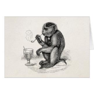 Cartão O macaco do vintage que fuma uma tubulação Monkeys