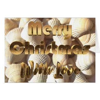 Cartão O mar do Feliz Natal descasca a praia tropical do