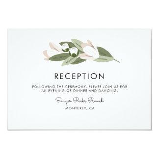 Cartão O marfim e cora recepção dos Sprigs do casamento