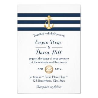 Cartão O marinho da âncora do ouro listra o casamento