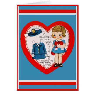 Cartão O marinho de WWII acena a cópia dos namorados
