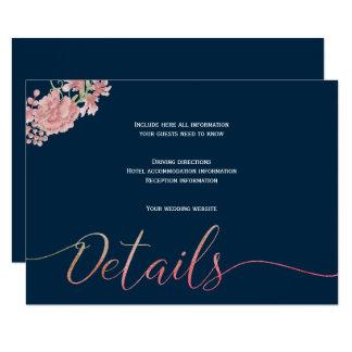 Cartão O marinho floral cora detalhes do convidado do