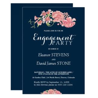 Cartão O marinho floral e cora festa de noivado convida