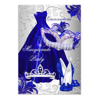 Cartão O mascarada Quinceanera do vestido do azul & da