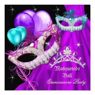 Cartão O mascarada Quinceanera mascara o vestido roxo