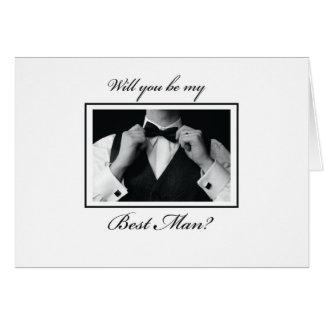 Cartão O melhor pedido do homem, preto e branco, smoking