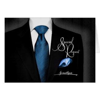 Cartão O melhor smoking do pedido do homem com laço azul
