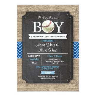 Cartão O menino azul do chá de fraldas do basebol ostenta