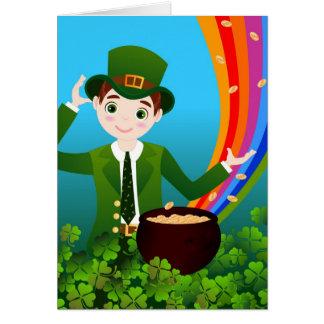 Cartão O menino comemora o dia de Patrick de santo