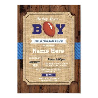 Cartão O menino do futebol americano do chá de fraldas do