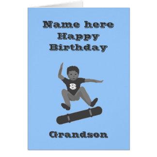 Cartão O menino Skateboarding, aniversário do neto