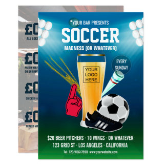 Cartão O menu do evento do futebol do bar adiciona o