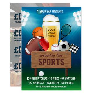 Cartão O menu do Promo do evento do bar de esportes