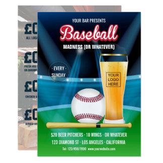 Cartão O menu do Promo do evento do basebol do bar