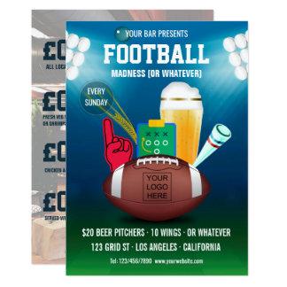 Cartão O menu do Promo do evento do futebol do bar