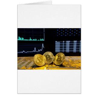 Cartão O mercado do circuito do trio de Bitcoin faz um