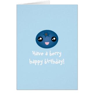 Cartão O mirtilo bonito de Kawaii tem um feliz