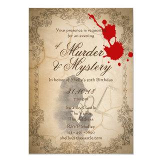 Cartão O mistério de assassinato convida o pergaminho do