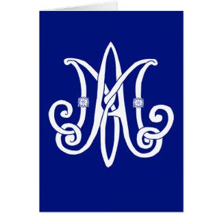 Cartão O monograma de Mary com rosas