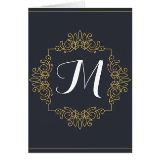 Cartão O monograma elegante | do azul e do ouro entra no