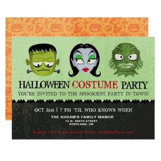 Cartão O monstro do partido do traje do Dia das Bruxas